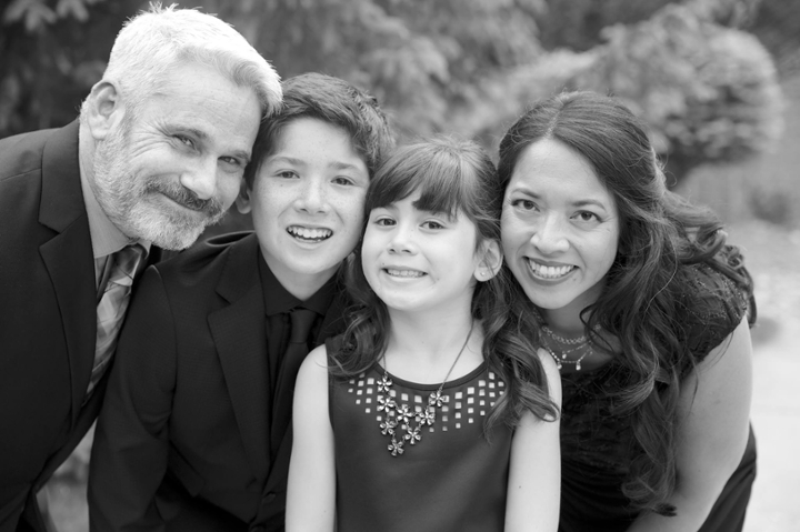 The Flink family--husband Michael with Zachary and Sarah--gathered for a portrait at the time of Zachary's bar mitzvah.