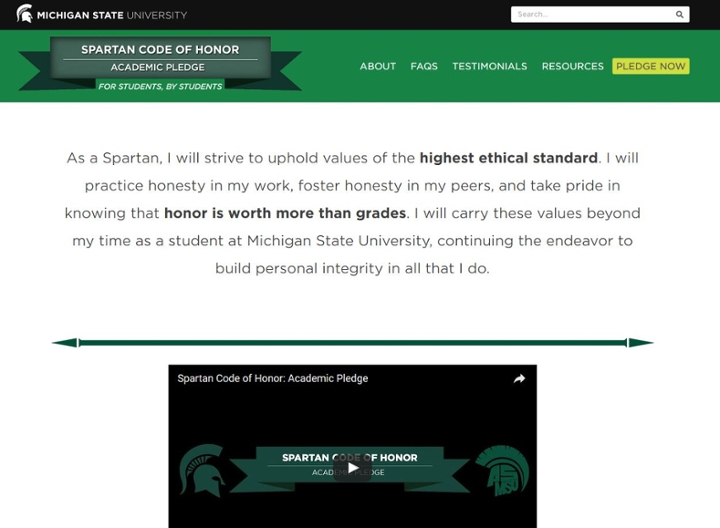 The new academic honor code website, where students can take the pledge.