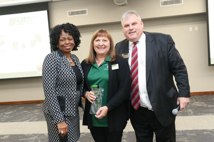 Jan Winsor (middle) with Dr. Denise B. Maybank, Vice President for Student Affairs and Services, and Dr. Allyn Shaw, Assistant Vice President, Transition, Leadership and Experiential Learning in Student Affairs.