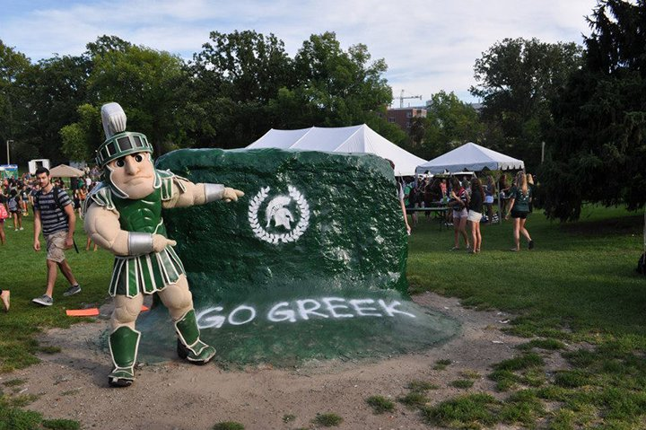 Even Sparty gets into Greek Life.