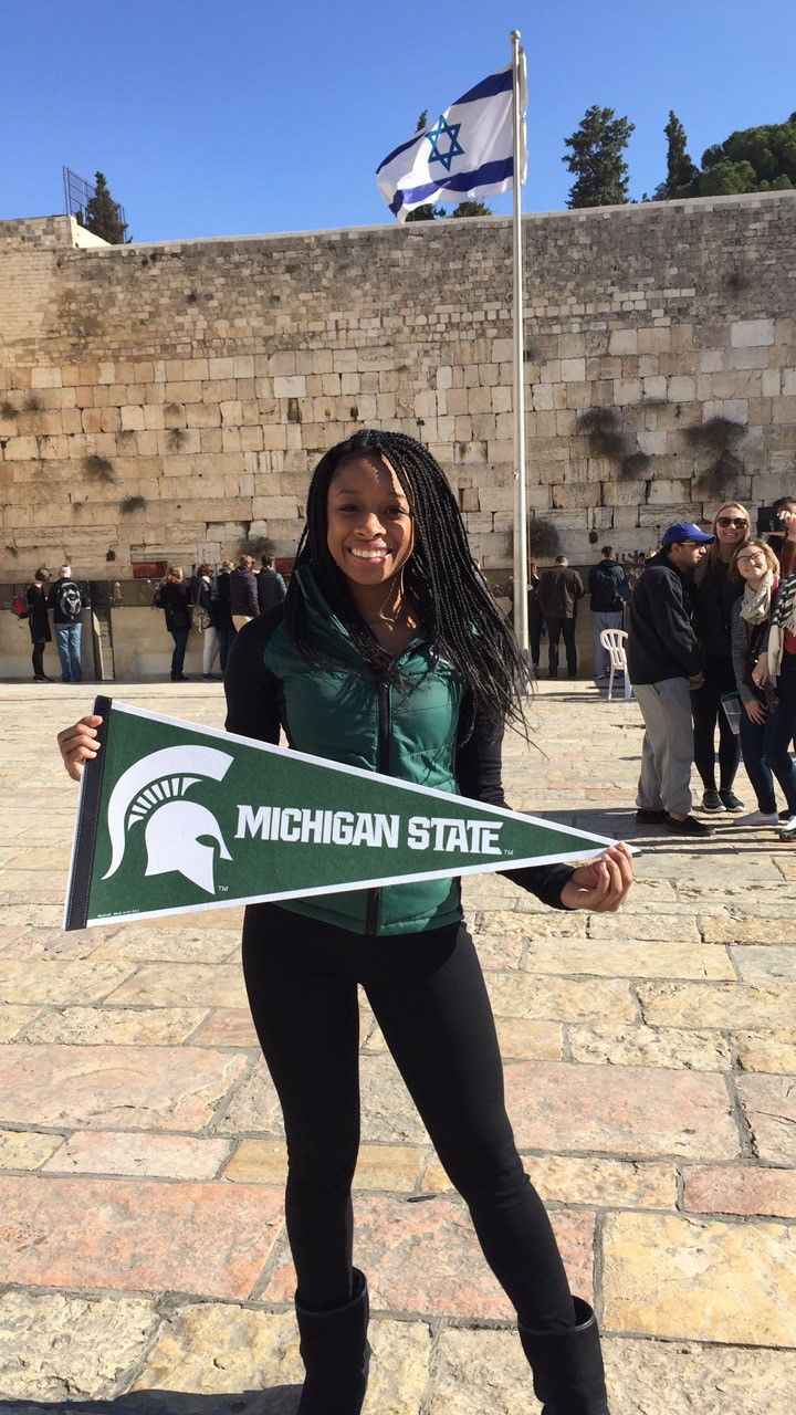 Scholarship recipient Kelsi Horn shows her Spartan pride at the Western Wall in Jerusalem. Photo courtesy Kelsi Horn