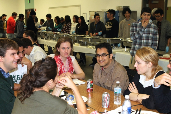 Students enjoy last year's Thanksgiving dinner in Brody.