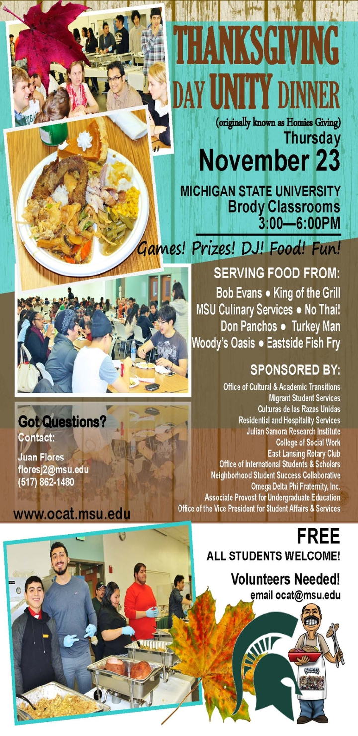 Annual campus thanksgiving day unity dinner welcomes all for Eastside fish fry lansing michigan
