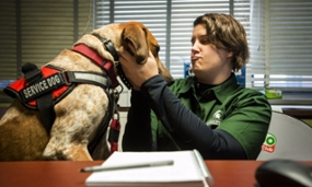 Graduate student and service dog embrace attention on campus